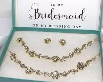 Rose Gold Bridal Jewelry Set, bridal necklace, Handmade Crystal Wedding Jewelry, Backdrop Choker Earring Jewelry, Dainty Bridesmaid Gift Set