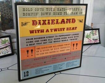Framed Album Art, Dixieland Music, Vintage Record Album, Graphic Album Art, Framed Dixieland Album Art, Dixieland with a Twist Beat Album