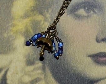 SALE Umbrella Necklace, Raindrop Pendant, Rainy Day Necklace, Raindrop Necklace, Bronze Umbrella Charm, Quirky Jewelry, Tiny Umbrella Charm