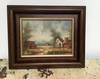 Vintage rural oil painting in wooden frame