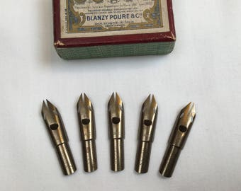Vintage nibs Gilbert Blanzy Poure & Cie, Fideles Achates No. 333, set of 5