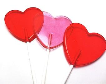 12 large heart lollipops valentine lollipops wedding favors variety of colors and flavors - Valentine Lollipops