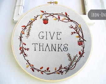 IRON-ON transfer Fall Autumn Thanksgiving  Hand Embroidery Pattern Give Thanks