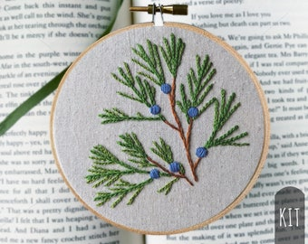 Hand Embroidery Kit DIY Stitching Project Box Juniper Botanical