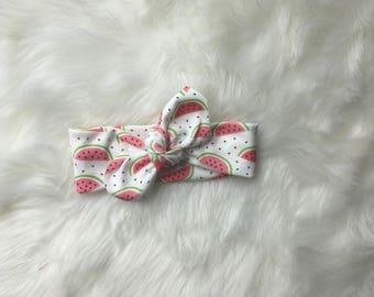 Organic baby knot headband- infant/baby/child head wrap- watermelon
