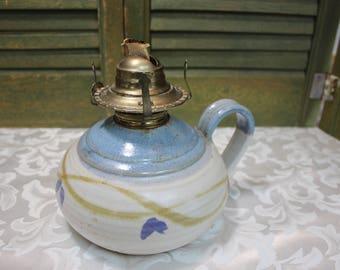 Signed Stoneware Studio Art Pottery Oil Lamp