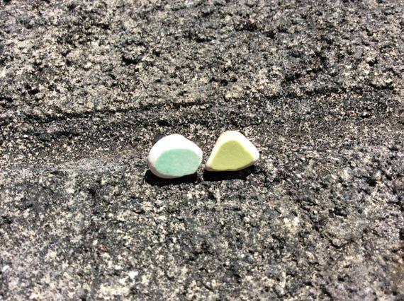 Surf Tumbled Sea Pottery Stud Earrings