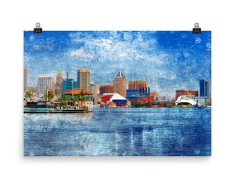 Baltimore Skyline from South Baltimore, Inner Harbor, Baltimore Art, Baltimore Harbor, Museum Quality Poster Print