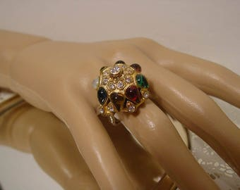 Mid Century Vendome Poured Glass Cabochon and Crystal Mughul Ring