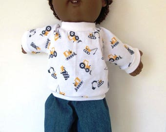 "16"" Boy Cabbage Patch Construction Print Shirt and Denim Pants"