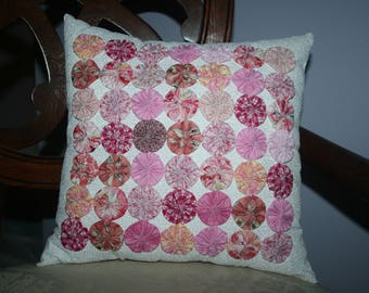 Cottage Inspired 49 Yo-Yo's or Rosette Decorative Accent Pillow Handmade Shades of Pink Colors, Valentine's Day, Easter, Spring