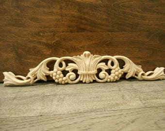 """Carved Applique - Grape  Onlay -12 1/4""""W x 2 1/4""""H x 3/8""""D - Small Carvings- Carved Applique -Grape Applique -ref.V21s"""