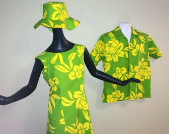 3 pc. Vintage Hawaiian Wedding Set w/ MOD Floppy Hat His & Hers Flower Power Maxi Waterfall Dress Men's Aloha Skirt Bright Green and Yellow