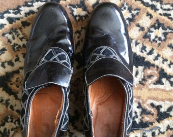 Vintage womens heels pumps black wood leather 8.5 9