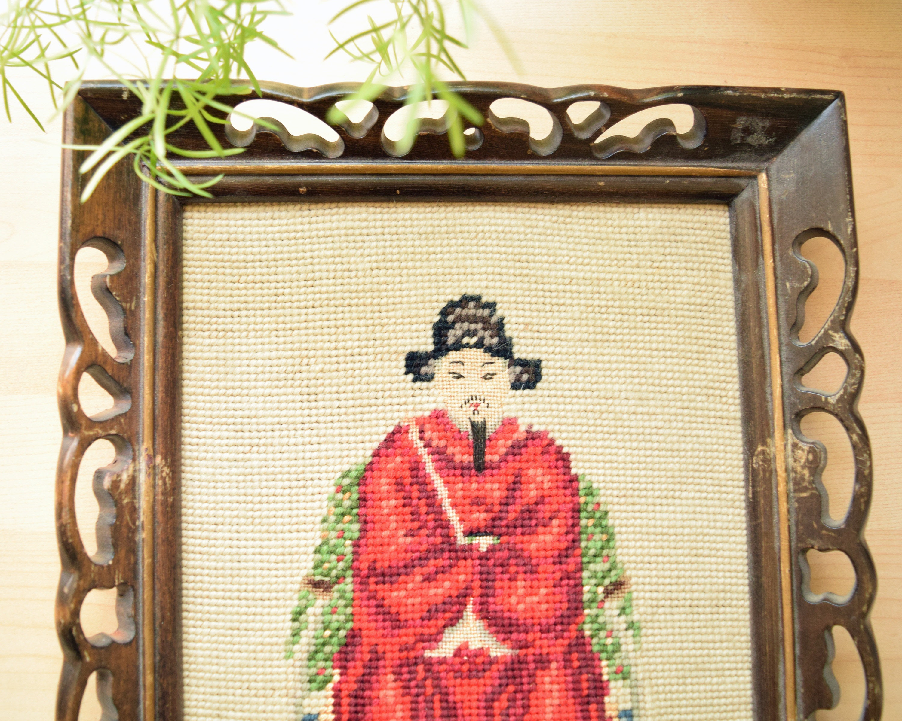 Framed Needlepoint, Asian design, Man in Red, Brown Wood Frame Ready ...