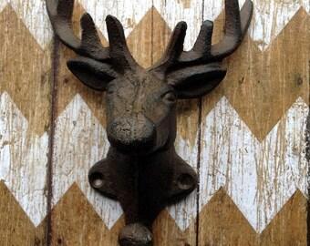 On Sale Cast Iron Deer Head Wall Hook Stag Elk Coat Hook Hanger Rack  Hunting Lodge, Cabin , Man Cave, Decor, Gift for Hunters 8 Point Antle