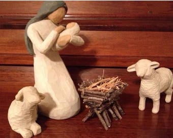 NATIVITY MANGER - Handcrafted with Sticks and Twigs- ** Willow Tree Compatible**