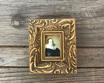 Vintage miniature small gold framed Elizabethan man artwork print