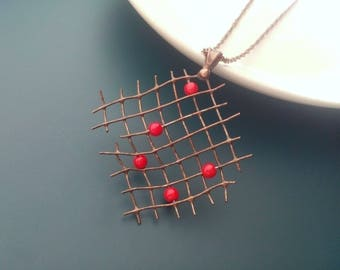 Wire jewelry, contemporary jewelryt, red beads, gift for wife, funky pendant, artistic necklace, Pearler
