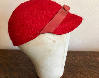 Sweet Red Wool Knit Cap from the Slocum Hat Corp. with Original tags!