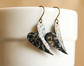 Folded Hammered Heart Dangle Earrings in Blue Speckled Patina