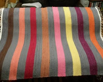 "Rag Rug - Hand-made - All Cotton - 28"" x 36"" - Warm Stripes"