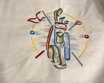 New canvas tote bag embroidered with GOLF