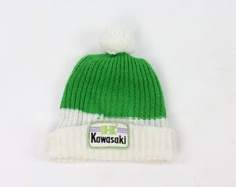 Vintage 70s Kawasaki Ski Cap Snowmobile Beanie Winter Hat 1970s Green White Men's Women's