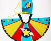 Personalised Super Baby superhero Cape and bonnet set