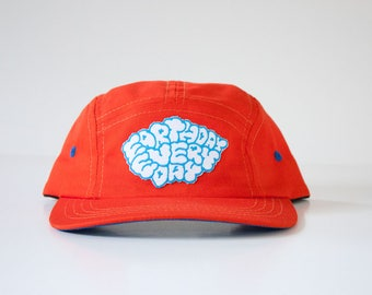 Earth Day Every Day Hat / 5 Panel Cap / Five Panel Hat / Embroidered / Patch / Orange
