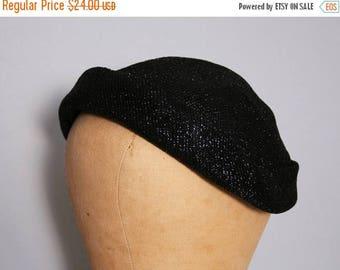 SALE Vintage 1950s Hat / Black Metallic Hat