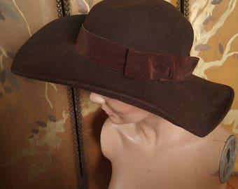 70s wide brim brown wool hippie hat by Betmar NY