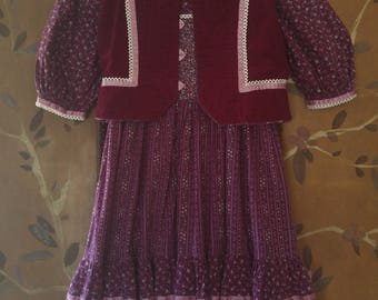 70s Girls purple flower Gunne Sax style dress with matching corduroy waist coat