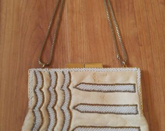 60s cream faux leather and beaded evening purse by Walbaeg made in Hong Kong