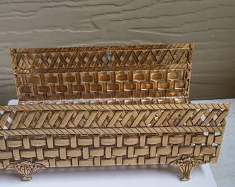 Vintage Goldtone metal basket weave guest towel holder