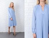 Vintage 70s Steel Blue A Line Dress Pleat Shift Medium M 9774