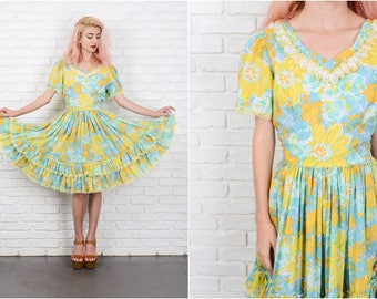 Vintage 70s Blue + Yellow Boho Hippie Dress Floral Tiered Painterly Full Lace 9701