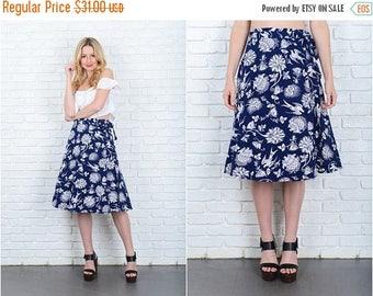 ON SALE Vintage 80s Navy Blue Wrap Skirt Bird Print Floral A Line Large L 9411
