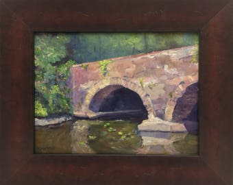 Small Plein Air Framed Landscape Oil Painting Stone Bridge
