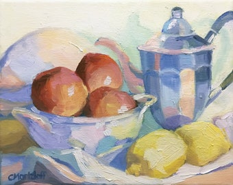 Still Life Original Small Oil Painting on Canvas