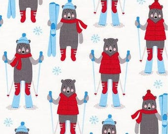 Skiing Bears on Snow White From Robert Kaufman's Frosty Friends Collection by Andie Hanna