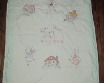 Vintage Embroidered Painted Quilted 3 Little Pigs Baby Blanket Quilt
