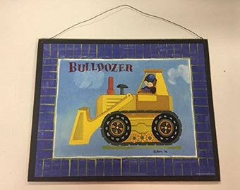 Bulldozer teddy bear in a construction tractor sign little or baby boys nursery bedroom decor decorations