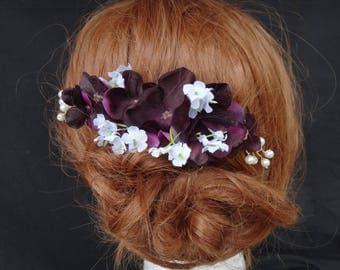 Plum hydrangea, baby's breath, pearl hair comb, artificial flowers, hair accessory