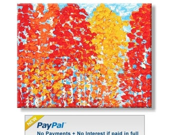 50% off SALE Clearance Sale: Fall Color Trees. Original Handpainted Acrylic Thick 3d Texture Impasto Palette Knife Painting. Size 14 x 18