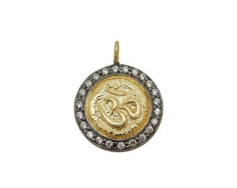 10% off July 4th SALE Coin Pendant with OM Stamped Accent - Round Gold Toned Brass with CZ Pave Pendant and Black Plated Edge Bic (S68B18-05