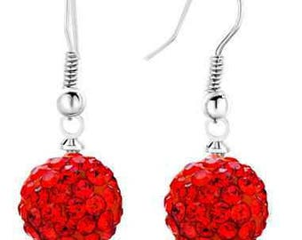 10mm Red Shamballa Dangle Drop Swarovski Crystal Pave  Earrings With 925 Sterling Silver French Ear Wires