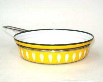 Cathrineholm Norway Yellow Lotus Enameled  Frying Pan Skillet Pot No Lid
