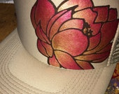 Khaki trucker with hand painted ruby ombre lotus