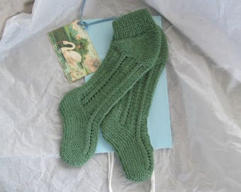 Knit Baby Knee Booties Hand Knitted Alpaca Wool Green Ready to Ship